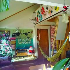 ペンダントライト/シャンデリア/畳スペース/小上がり/ロフト/ハンモック/... クリスマス仕様のリビング