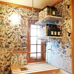窓枠DIY/格子/壁紙/洗面所/DIY/トイレ/... 窓に格子の枠を取付てみました☆
