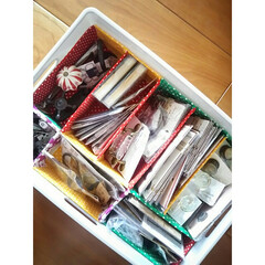 部品収納/仕切り/牛乳パック/ファブリック/収納 DIY部品を収納する為にインボックスの中…