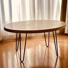 キッチン雑貨/ランチ/雑貨/おしゃれ/暮らし/DIY 楕円形のローテーブル自作しました🔨 木材…