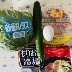 手羽煮/キムチ/冷麺/晩御飯 今夜は暑いから冷麺! 北海道のキムチ入れ…