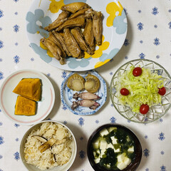 鶏手羽/ホタテ/サラダ/かぼちゃ/ヤリイカ/松茸ご飯/... こんにちは🎶 朝から曇り気温17℃上着着…