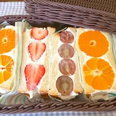 フルーツサンド/サンドイッチ/生クリーム/果物/おうちごはん/おしゃ弁/... フルーツサンドが食べたいと子供からリクエ…