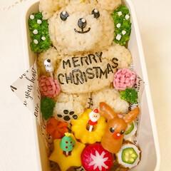 キャラ弁/3D/おにぎり/顔おにぎり/3d弁当/クリスマス弁当/... 3dくまさんクリスマス弁当 めんつゆご飯…