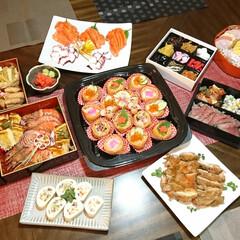 お節料理/おうちごはん/新年会/パーティー料理/いなり寿司/おつまみ/... 我が家お節料理&新年会料理 元旦の夕方か…