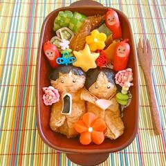 雛祭り/キャラ弁/いなり寿司/お雛様/可愛い/飾り切り/... 雛祭り弁当 お内裏様とお雛様を稲荷でアレ…
