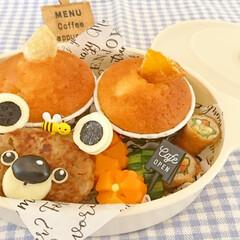 マフィン/冷凍保存/キャラ弁/お弁当/カフェ風/おしゃ弁/... オレンジマフィンを焼いたので カフェ風弁…(1枚目)