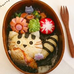 キャラ弁/わっぱ弁当/猫/顔おにぎり/デコ弁/リミアな暮らし お魚くわえた猫ちゃんわっぱ弁当 猫ちゃん…