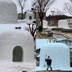 かまくら職人/かまくら/フォロー大歓迎/秋田県横手市 秋田県横手市のかまくら 今年は市内に雪が…