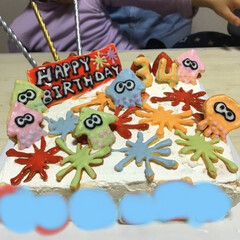 クッキー/タコ/イカ/スプラトゥーン/カラフル/誕生日ケーキ/... 寝ても覚めてもスプラトゥーン好きな旦那様…(1枚目)