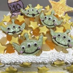 グリーン/星/エイリアン/トイストーリー/誕生日ケーキ/手作り/... トイストーリーのエイリアン好きな姪っ子の…