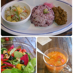 野菜スープ/野菜たっぷり/オーガニックランチ この間友達とオーガニックランチ☀️🍴を食…
