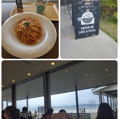 チョコミント/ボロネーゼパスタ/ランチ/海の見えるカフェ 今日は七ヶ浜の海の見えるカフェで⚓🐚🌊 …(1枚目)