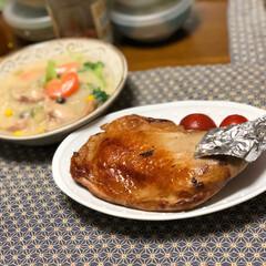 クリスマス/ディナー/チキン/我が家のテーブル 一足早いクリスマスディナー