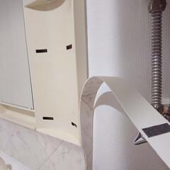 賃貸マンション/DIY/リメイク/シャンプードレッサー/洗面所/クッションフロア/... ⑤ ついに・・・シャンプードレッサーのリ…(1枚目)