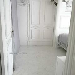 床/クッションフロア/賃貸マンション/DIY/海外インテリア/シャビーシック/... 床を張替えて、スッキリまとまりました♪