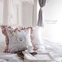 クッション/シャビーシック/ピンク/フリル/白/癒し/... ― Cushion rose pink …