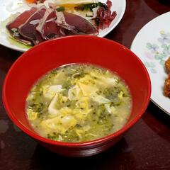 カルパッチョ/カツオ/味噌汁スープ/お味噌汁/ブロッコリーレシピ/ブロッコリー/... 今夜は… ブロッコリーを 味噌スープ仕立…(1枚目)