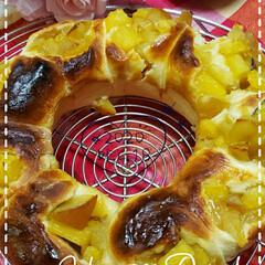 具たっぷり/おうち時間/おうちカフェ/りんごとさつまいも/りんごとさつまいものパン/朝パン/... 今日も素敵な一日になりますように(♥Ü♥…