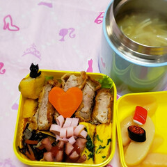 スープジャー/保温ポット/女子高生のお弁当/昼食/お弁当のおかず/娘のお弁当/... 今日の娘のお弁当🍱🍴  \︎︎❤︎/ミニ…(1枚目)