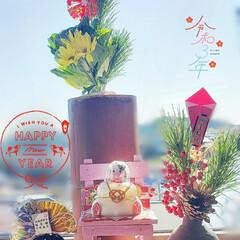 窓際/花のある生活/花のある暮らし/リミアのある暮らし/丑年/鏡餅/... 今日も素敵な一日になりますように(♥Ü♥…(1枚目)