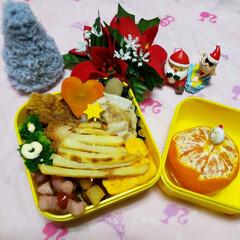 クリスマスツリー/クリスマス/クリスマス雑貨/JKのお弁当/100均雑貨/100均/... 今日の娘のお弁当🍱🍴  ⸜❤︎⸝フライ…