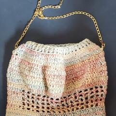 手作りバッグ/かぎ編み/ハンドメイド/ファッション/100均/セリア/... セリアの毛糸を 使ってかぎ編みでバッグを…