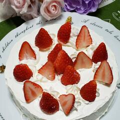いちご/ハート型/プリンの容器/ケーキの盛り合わせ/ワンプレート/100均雑貨/... 娘2人に誕生日ケーキ  ケーキ盛り合わせ…(1枚目)