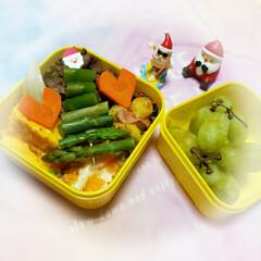 ランチ/お昼ごはん/楽しみなクリスマス/クリスマスを楽しむ/アスパラツリー?/サンタさん/... 今日の娘のお弁当🍱🍴  ⸜❤︎⸝焼肉 …