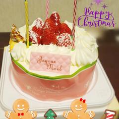 家族団らん/イチゴ/今年は/クリスマスケーキ/クリスマスパーティー/クリスマス2019/... 今年のクリスマスケーキも お手製ではなく…