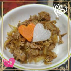ハート型/簡単メニュー/簡単レシピ/我が家の夕食/スタミナ料理/スタミナ丼/... 昨夜の夕飯は お肉と玉ねぎを炒めご飯の上…