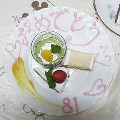 おめでとう/手作り/おうちスイーツ/おうちcafé/おうち時間/sweets/... 父親のバースデーケーキを 娘と作りました…