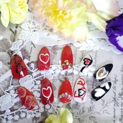 love/ハート/ネイルチップ/バレンタインネイル/セルフネイル/ネイル/... キャンドゥで買ったネイル用の アート、ラ…