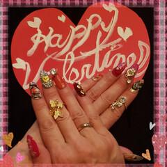 デコネイル/今年のバレンタイン/バレンタインネイル/ハート/セルフジェルネイル/ネイルチップ/... 今年の  𝓗𝓪𝓹𝓹𝔂 𝓥𝓪𝓵𝓮𝓷𝓽𝓲𝓷𝓮…(1枚目)