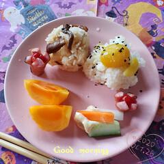 暮らし/柿/柿の日/栗ごはん/きのこの旨味/おにぎり/... 今日も素敵な一日になりますように(♥Ü♥…