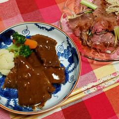 ごちそうさまでした/柔らかい肉/ボリューム満点/牛ほほ肉煮込み/ローストビーフ/我が家の夕食/... いつもお世話になっている方から ロースト…
