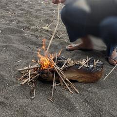 幸せな時間/海辺/焚き火/至福の時間/至福なひととき/休日の過ごし方/... 今日は暑かったけど  先日海に行った日は…