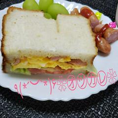 おうちごパン/シャインマスカット/食パン/おうちごはん/サンドイッチ/焼きたてのパン/... 先週今週と娘のお弁当は🈚 今日は真っ直ぐ…