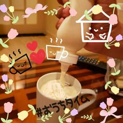 ほっと一息の時間/幸せな時間/至福のひととき/生クリーム/ウインナーコーヒー?/コーヒー/... お手軽な ホイップクリームを コーヒーに…