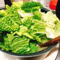食事情 白菜たっぷりのお鍋です。 冬といえばこれ…