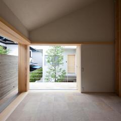 全開サッシ/全開木製サッシ/大黒柱/中庭/シンボルツリー/庭・ガーデニングリフォーム/... リビング(中庭に面する窓を戸袋に収納する…