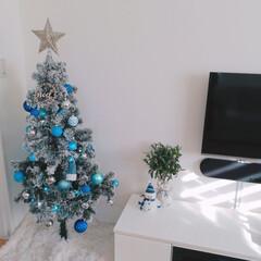 クリスマス/スノーマン/クリスマスツリー/ホワイト×ブルー/IKEA/クリスマス2019/... 我が家のクリスマスはシンプルです。ホワイ…