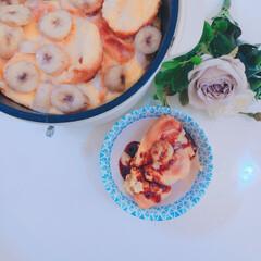 パンプディング/Vita/山善/我が家のテーブル/リミアな暮らし/ニトリ バナナのパンプディング。  カラメルをか…