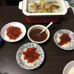 いくら/ちゃんちゃん焼き/我が家のテーブル いくらと鮭のちゃんちゃん焼きパーティー!