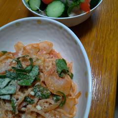 晩ご飯/ピーマン/サラダ/バジル/家庭菜園/ママースパゲティー お初でピーマン採りました😊 バジルも増え…(2枚目)
