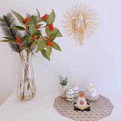 インテリア雑貨/玄関インテリア/和モダン/鏡餅/お正月飾り/お正月2020 28日にお正月飾りを飾りました。 ガラス…