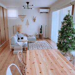 クリスマスツリー/リビングダイニング/リビングインテリア/マクラメタペストリー/bohoスタイル/BOHOインテリア/... リビングダイニングpic