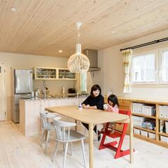 キノハス/kinohus/北欧/北欧デザイン/住まい/暮らし シンプルな内装に、家具やカーテンなどで黄…(1枚目)
