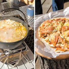 ウッドデッキ/開放感/ナポリ風/ピザ/豚汁/キノハス/... 自宅のウッドデッキで楽しむ、 熱々の豚汁…