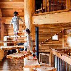 キノハス/kinohus 2階とロフトをつなぐらせん階段は、  ツ…